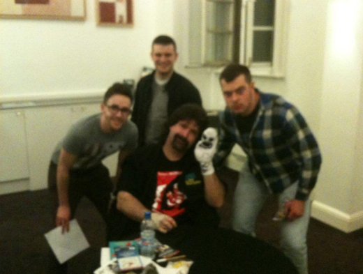 Me, Foley, Mr. Socko and a couple of mates (quite blurry)